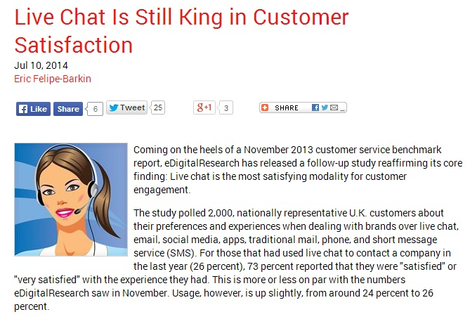 Live chat is still king in customer satisfaction
